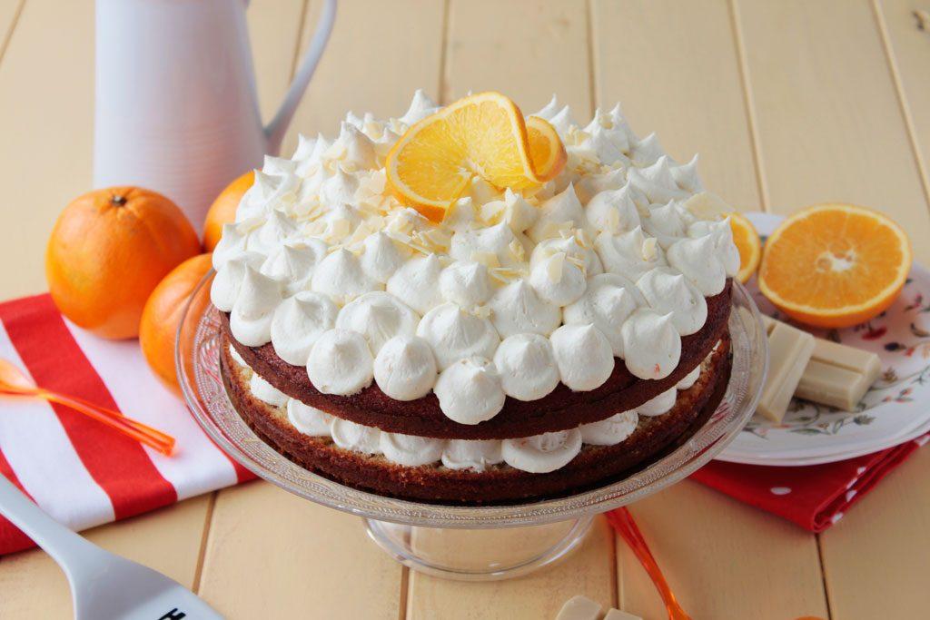 tarta de naranja y chocolate blanco
