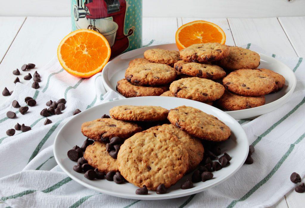 Galletas de avena con naranja y chocolate