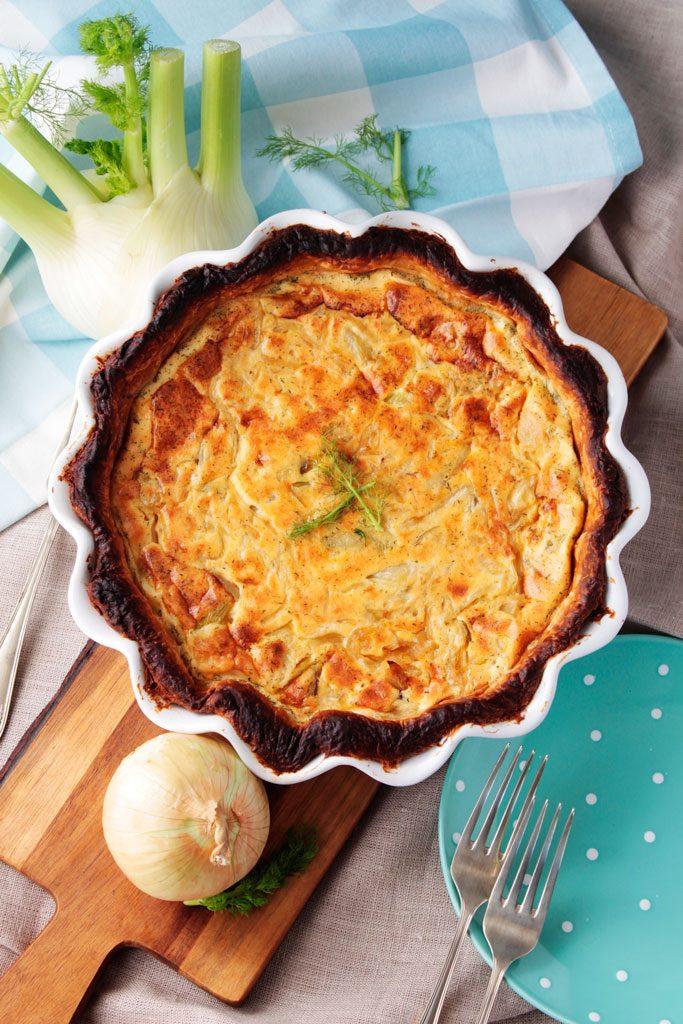 Tarta de hinojo y cebolla caramelizada